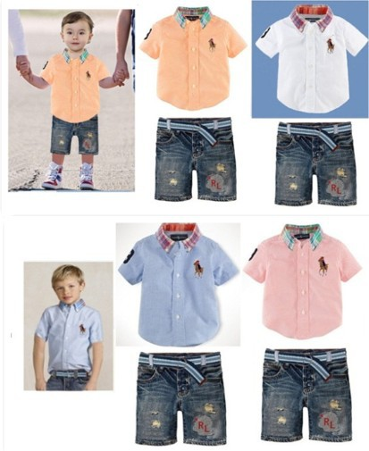 2017 Brand Name Children Polo Clothes Baby Boys Shirt Pants Suit Kids Casual Short