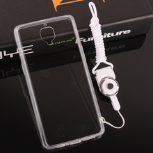 Simple Transparent With Dust plug White Lanyard TPU Side Hard Back Shell Cover Mobile Cell phone Case For One plus 3 Oneplus 3