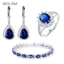 MOLIAM Fashion Costume Jewellery Sets Silver Color Zirconia Stone Earrings Bracelets Rings Set E051f+L120c+R199