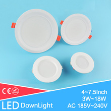 4~7.5inch 10~19cm Led Downlight 3w 7w 12w 18w Led Ceiling Frosted Surface Recessed Down Light Warm Cold White AC185-240V 220V