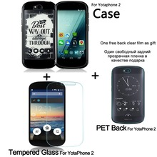 For Yota Phone 2 silicone protective cover and Tempered Glass Screen Protector For YotaPhone 2 Toughened Glass Protective Film(China)