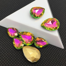 10x14mm 45pc Light Green Flame Rhinestone Glass Pointback Pear Bead Nail Art 3D Desgin Decoration Phone Accessories Manicure Kit(China)