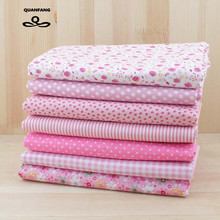 Thin Plain Printed Cotton Fabric Small Fat Quarters Patchwork For Sewing Quilting Floral Bundle Cloth Tissus 7pcs/lot 24cm*24cm