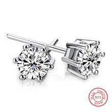 Fashion 925 Sterling Silver Round 6 MM Stud Earrings For Woman Man White Circular Crystal Zircon Earrings Channel Brinco Jewelry