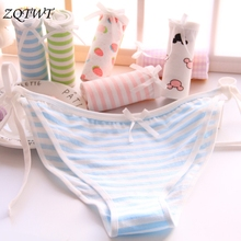 Hot Sexy Bandage Stripe G String Women Strawberry Thong Cute Panties Cotton Intimates Mickey Plaid Lingerie Underwear Girl Tanga