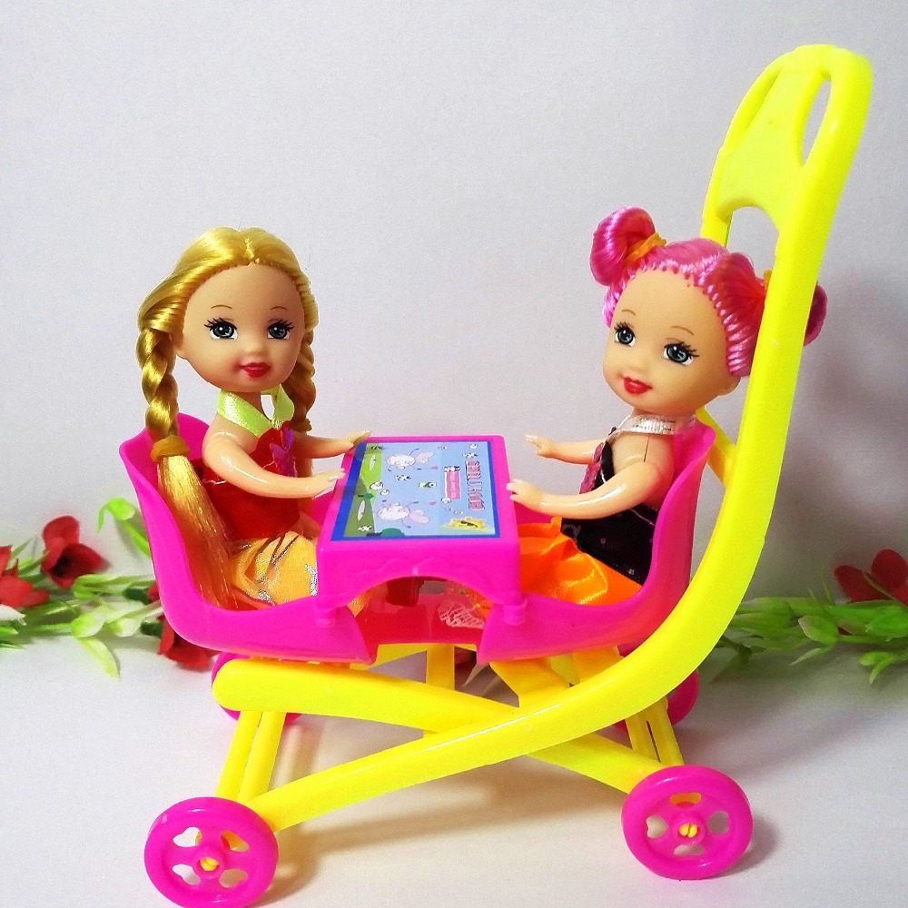 Child Carriage Stroller Furnishings Mini Equipment for Barbie Doll Home Basic Toys for Kelly doll Cute Reward Woman Free Transport