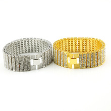 Punk Style Iced Out  White \  Pave Simulated Diamond Bracelet Hip Hop Men Charm Wide Bracelet Bangle
