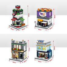 Hot city mini street view building block with light mini cooper Auto sales shop visa Finance FEDEX Express Center toys for kids