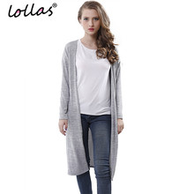 lollas New Casual Women Gray Black Crochet Knitted Cardigan Long-sleeve Solid Color Sweater Cardigans Blouse(China)