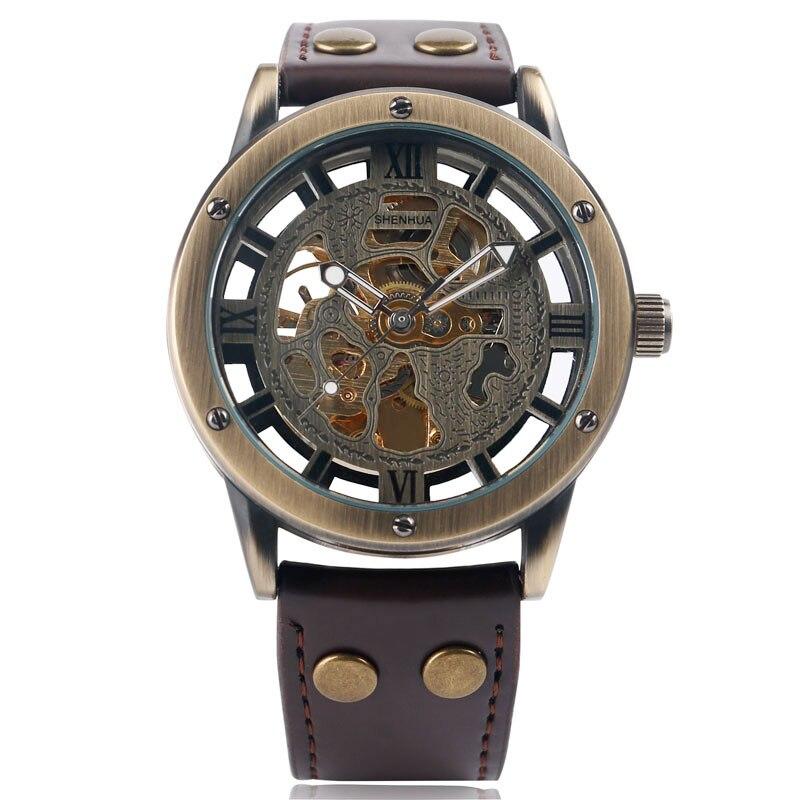 Vintage Men Watches Skeleton Steampunk Self-Wind Leather Sport Automatic Mechanical Watch Reloj Hombre Relogio Esqueleto Shenhua<br><br>Aliexpress