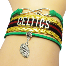Infinity Love Celtics Baseball Team Bracelets Leather Suede Rope Charm Customize Friendship Wristband Women Bangle