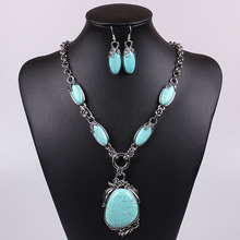 factory direct sale navajo turquoise jewelry vintage tibetan silver charms big stone necklace gypsy jewelry set