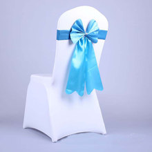 30Pcs Bow Tie Free Stretch Back Chair Seat Cover Wedding Flower Bandage Ribbon Hotel Banuet Chair Decoration Wedding Supplies