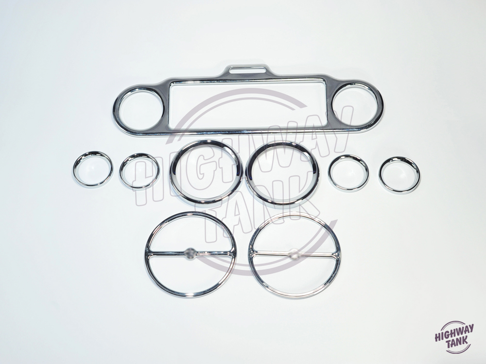 9pcs Chrome Stereo Accent Speedometer Speaker Trim Ring case for Harley Electra Glide<br>