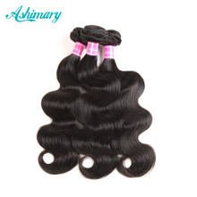 "Ashimary Hair Peruvian Body Wave Human Hair Bundles 1 Piece Natural Black Color 8""-28"" Inch Non Remy Hair Weft Free Shipping(China)"