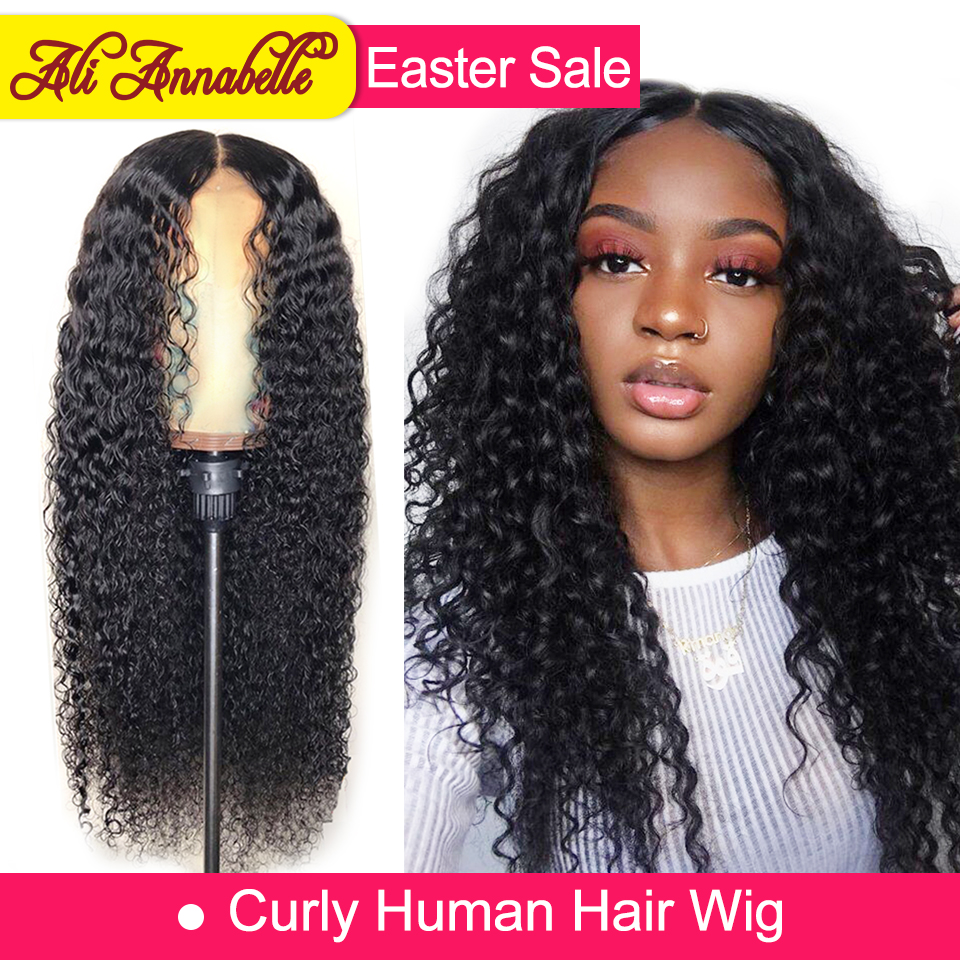 Ali Annabelle Hair Brazilian Lace Front Curly Wig Human Hair With Baby Hair 150% Density 13*4 Lace Wig Remy Hair Pre Plucked(China)