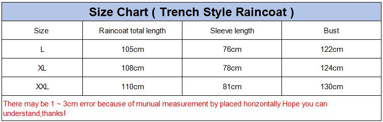Size chart for trench coat