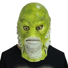 2017 New Halloween Creative Mask Green Monster Horror Fish Monster Latex Material Halloween Eve Set Party Decoration Mask(China)