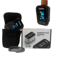 Dual Color OLED Fingertip Portable Pulse Oximeter with Black Pouch and Lanyard  SPO2 Monitor Pulsoximetry  Oximetro de Pulso