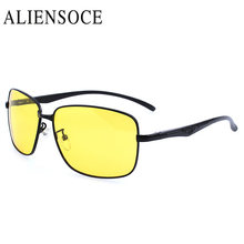 ALIENSOCE Driving High Definition Night Vision Sunglasses Yellow Lens Women Men Polarized Rectangle Glasses with Original Box