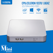 Micro Industrial PC Mini Computer Fanless Industrial Thin Client Celeron C1037U 2G RAM 64G SSD Support HD Video