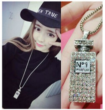 XL350 Fashion Accessories 1 perfume bottle design crystal studded necklace women necklace 2015