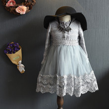 2017 new Baby girls Valentine's Lace Dress kids Birthday Dress children spring autumn Clothing  For Toddler Girl 2-7y