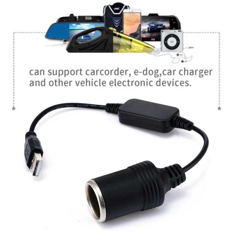 Mayitr 1pc 5V 2A USB To 12V 8W Cigarette Lighter Socket USB Male to Female Cigarette Lighter Adapter Converter FOR Car