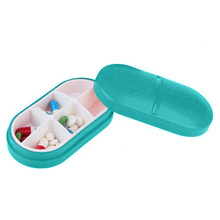 1PC High Quality Portable Pill Box Pea Shape 6 Compartment Light Blue Pill Case Pill Organizer Medicine Box Drugs Pill Container