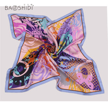 100% Silk Twill Scarf, Classic Butterfly Printed Female shwal, Elegant Fashion women scarves, Luxury Chinese Brand Head Hijab(China)