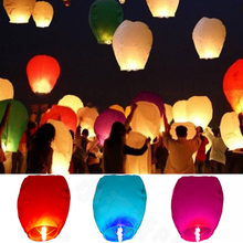 10pcs Chinese Lantern Paper White Wedding Decoration Fire Sky Lanterns Flying Candle Wishing Lamp for Birthday Wish Party Ideas