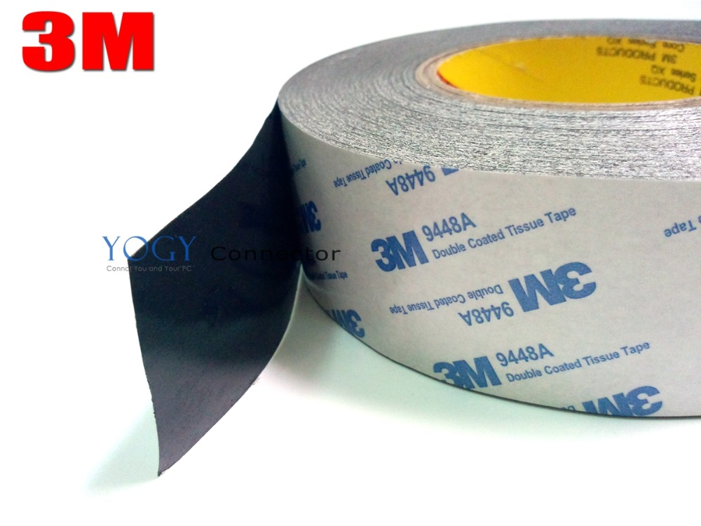 1x 50mm*50M 3M 9448 Black Two Sided Tape for General Industrial joining, Foam and Rubber Lamination Bonding<br>
