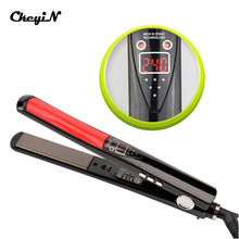 Professional 2 in 1 Ceramic Hair Straightener Digital LED Display Titanium Plates Flat Iron Straightening Irons Styling Tools 45(China)