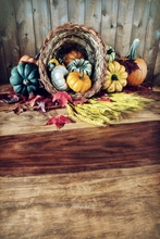 HUAYI pumpkins wheat and leaves on an old antique harvest  table  Room for copy space Photography Newborn Backdrop XT4256