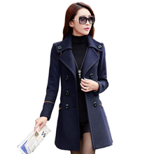 2015 double breasted trench coat for women wool female overcoat red winter coat women manteau long femme ladies winter coats
