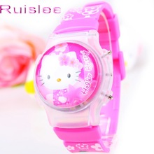 Fashion With light Hello Kitty Cartoon child watch flip silica gel children student watches electronic Girl Gift watch 163698(China)