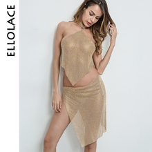 Ellolace Metal Chain Sequins Dress Women Rhinestone Ultra Thin Gold Two-Piece Dresses Slip Halter Tops Nightclub Party Vestido(China)