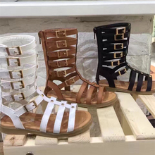 Baby Girls Studded Gladiator Sandals High Length Kids Beach Shoes Real Leather Brown Black Children's Rome Summer Boots