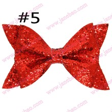 free shipping 20pcs 2017 newest big seuqin hair bows with clips glitter hair bows big hair bows for girl hair assesories(China)