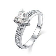 Excellent 2Ct Heart PT950 Stamped Sterling Silver in 18K White Gold Reliable Diamond Ring for Women Wedding Jewelry(China)
