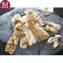 2017 Brand women natural red fox fur jacket short style lady genuine fox fur coat outerwear fashion