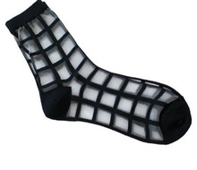 1pair Women Summer Novelty Transparent grid socks Glass Crystal Silk Cool Mesh Knit Sheer socks