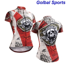 2017 Women Cycling Bicycle Jerseys cool Short Sleeve Summer Bike Cycling Clothing skull printed S-3XL