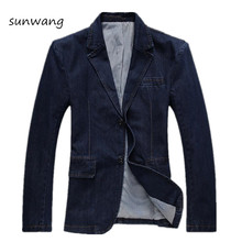 2017 Spring Fashion Brand Men Blazer Slim Fit Jeans Suit Casual Mens Denim Blue Jeans Suit Jacket Blazer Suit Men Plus Size 4XL