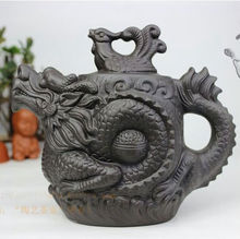 NEW YIXING TEAPOT Dragon and Phoenix tea pot Premium black 470ml big capacity purple clay tea set kettle kung fu teapot(China)