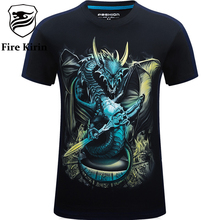 Fire Kirin 3D T Shirt Men Luxury 5XL 6XL Plus Size Mens Hip Hop Clothing 2017 Dragon Skull Print T-shirt Cotton Camisetas T390(China)