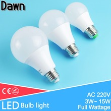 High Bright Aluminum Cooling E27  LED Lamp LED Bulb Light 3W 5W 7W 9W 12W 15W 220V Real Watt SMD Lampara Bombilla Ampoule LED