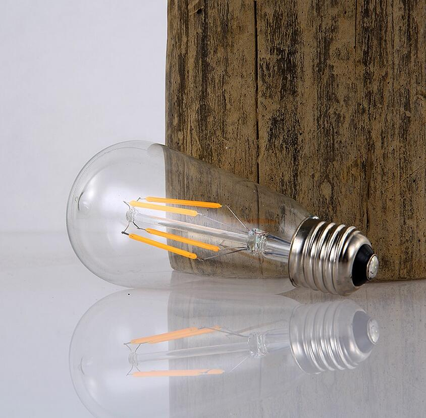 Antique Vintage Edison light Bulb 4W/6W 220V/110v radiolight ST64 LED Filament Lamp Squirrel cage Tungsten Wholesale 40pcs/lot(China)