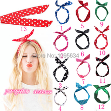 free shipping  New Summer Spring Retro Wire Headband Head Hair Band Polka Dot Rockabilly Scarf  6 pcs/lot