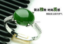 Natural Real HeTian Jade Inlay Lucky Ring 925 Silver Green Jade Rings Fashion Jewelry adjustable Ring Woman's rings